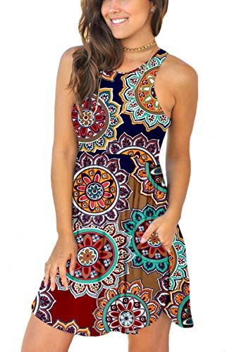 Unbranded Women's Summer Casual T Shirt Dresses Swimsuit Cover Ups with Pockets Round Floral Navy Blue Large