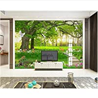 Xbwy 装飾壁画 グリーンツリーフォレストホワイトハト風景背景壁紙装飾-400X280Cm