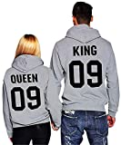 Minetom King Queen Impresión Sudaderas con Capucha Hombre Mujer Impreso Parejas Tops Casual Hoodie Blusa Manga Larga Jersey Camisa Pullover 09 Gris (King/Queen) EU XS (Hombre)