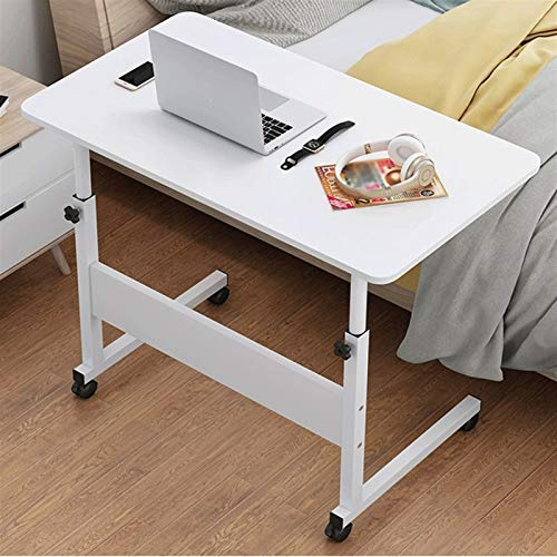 Computer Workstations Laptop Overbed Table, Adjustable Overbed Bedside Table with Wheels, Laptop Bed Tray Table, Sofa Side End Bedside Computer Desk Portable Table (Color : White, Size : 60X40CM)
