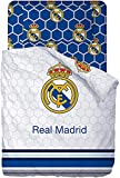 Real Madrid Juego De Sabanas de 3 Piezas Cama 105, Incluye Sábana Bajera, Encimera y Funda de Almohada. RM 182062-105