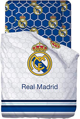 Real Madrid Juego De Sabanas de 3 Piezas (160x270 + 90x200/25 + 45x110) - Cama de 90cm