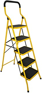 BAOYOUNI 5 Step Ladder Folding Step Stool Safety Portable Heavy Duty Stepladders with Handgrip Anti-Slip and Wide Pedal Household Tool for Home Office Garage (5 Steps, Yellow)