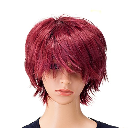 SWACC Unisex Fashion Spiky Layered Short Anime Cosplay Wig for Men and Women (Wine Red)