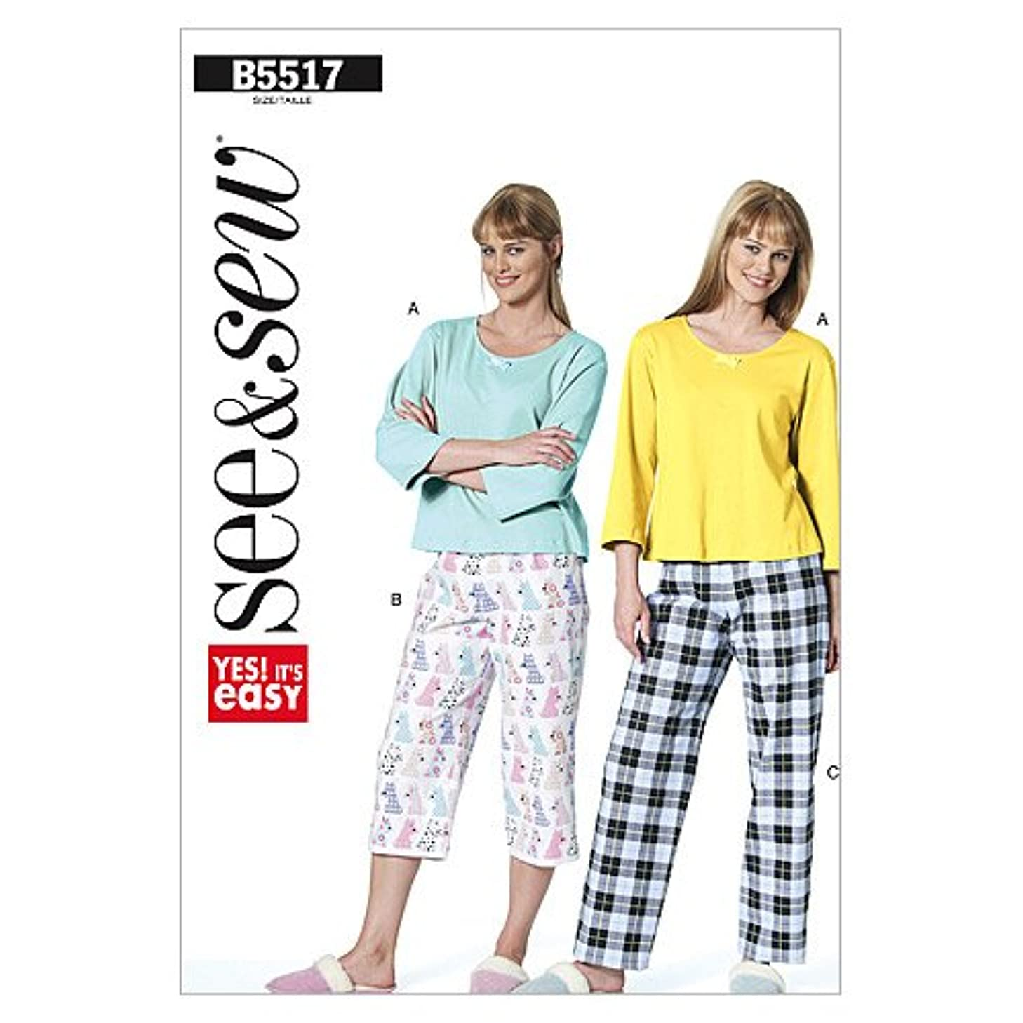 BUTTERICK PATTERNS B5517 Misses'/Misses' Petite Top and Pants, Size A (XSM-SML-MED)