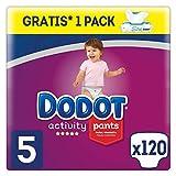 Dodot Activity Pants Pañal-Braguita, 12-17kg + Dodot Aqua Pure Toallitas para bebé, 1 Pack de 48 Toallitas Gratis, Talla 5, 120 Pañales