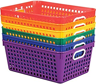 Really Good Stuff Plastic Storage Baskets for Classroom or Home Use - Fun Rainbow Colors - 13