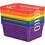 Really Good Stuff Plastic Storage Baskets for Classroom or Home Use - Fun Rainbow Colors - 13' x 10' (Set of 6)