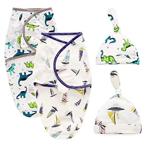 Baby Swaddle Wrap con Sombrero Envolvente Manta 100% Algodón Saco de Dormir Unisexo Alas Ajustables Bebe Recien Nacido Blanket 0-3 Meses Set 2
