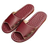 TELLW Zapatillas de Cuero de Verano par de casa de Las Mujeres Pisos de Madera de Interior Antideslizante Anti-maloliente Zapatillas de Piel de Vaca Masculina