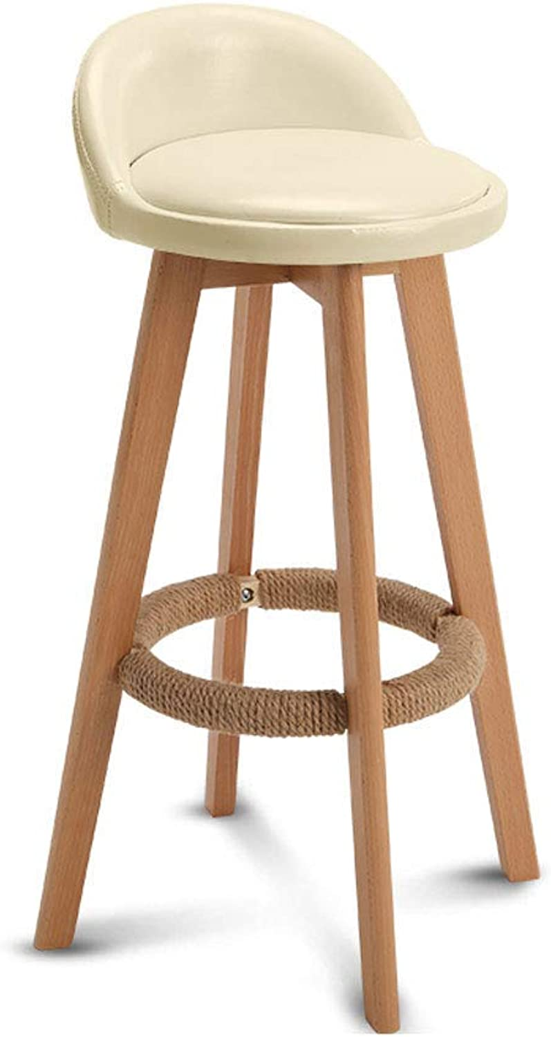 Barture Barstools - PU Mat Bar Stool Backrest Swivel Chair Kitchen Dining Chair Bar Stool Carrying 150 Kg (color   White, Size   63cm)