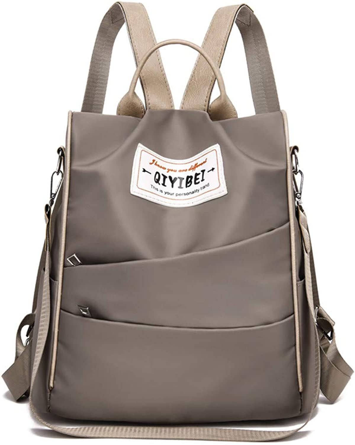Backpack Oxford Cloth Canvas Bag Ladies Small Backpack, Khaki Casual Practical Simple