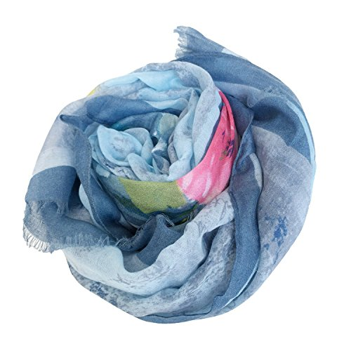 GERINLY Soft Shawl Scarf: Rosa Chinensis Print Beach Wrap For Hawaiian Vacation (White)