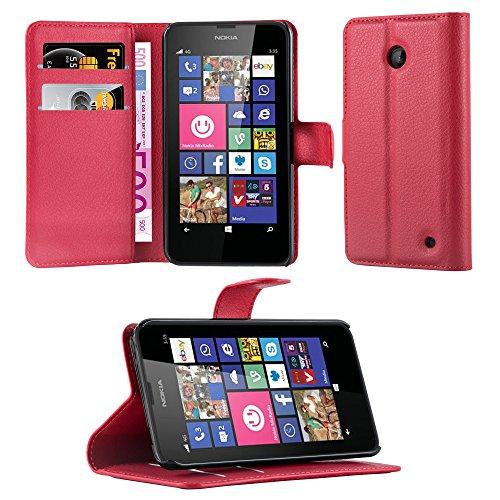 Cadorabo Hülle für Nokia Lumia 630/635 in Karmin ROT - Handyhülle mit Magnetverschluss, Standfunktion und Kartenfach - Case Cover Schutzhülle Etui Tasche Book Klapp Style
