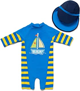Baby/Toddler One Piece Zip Sunsuits with Sun Hat UPF 50+ Sun Protection Infant Beach Swimsuit