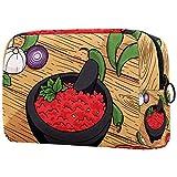Bolsa de maquillaje personalizada para brochas de maquillaje portátil para mujer, bolso de mano, organizador de viaje, molcajete cebolla, tomate, pimienta