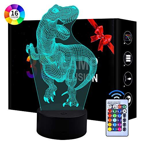 TICE niñas, Juguete de luz Nocturna de Dinosaurio 3D para niños de 3-12 años Regalo de luz de Noche para niños de niños y niñas de 3 a 7 años