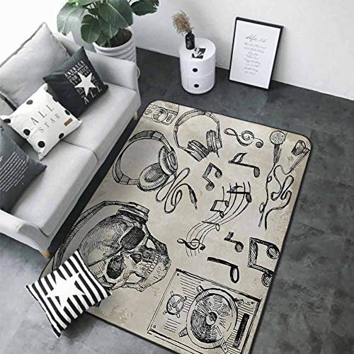 "Printed Mats for Children Bedroom Music,Sketchy Background Hipster Skull with Headphones Record Player Mic Speakers Print,Beige Black 80""x 120"" Best Floor mats"