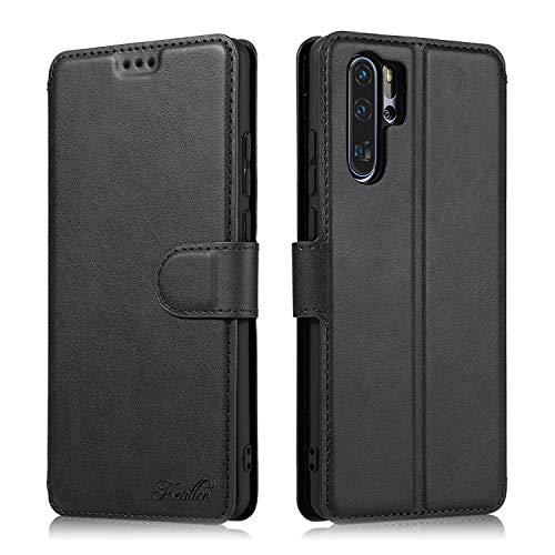 Preisvergleich Produktbild Keallce Handyhülle für Huawei P30 Pro Leder Handytasche für [Magnetische Sperre] [Ständer] [3 Kartenfächer] für Huawei P30 Pro-6.47'', Schwarz