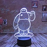 Creative Girl Boys Gifts Baymax 3D Night Light LED 7 Colors Changing Touch Remote USB Kids Bedroom Beside Light Birthday Decor
