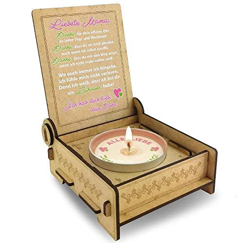 Candle IN THE BOX, Mama von Sohn Kerze, Geschenkidee für Mama, Deko Geburtstag, Danke Mama Teelicht, Geburtstagsgeschenk Mutter, Holz Geschenke