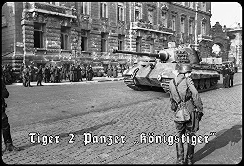 Tiger 2 Panzer Königstiger Soldaten Letrero de Metal Placa de Metal Signo de Arqueado Metal Tin Sign 20 X 30CM