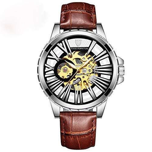 YiLuFanHua Relojes Hombre Negocios Luminoso Impermeable Reloj Banda De Cuero Analogicos Fecha De Pulsera Regalo Elegante,Silver Brown