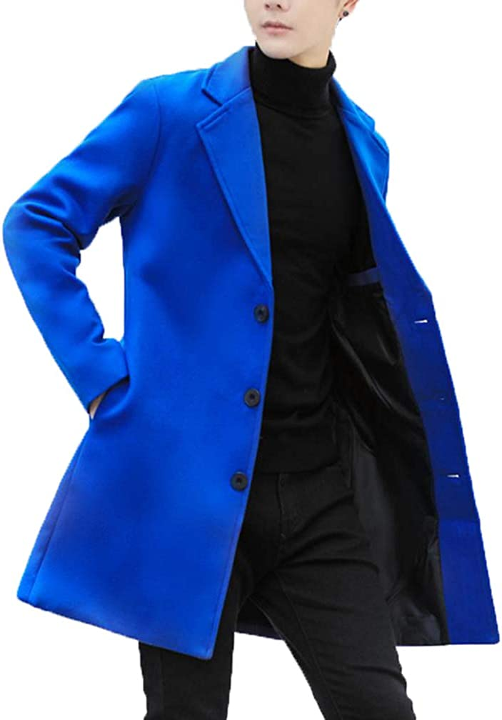 Tebreux Men's Casual Trench Coat Notched Lapel Long Pea Overcoat Single Breasted Topcoat