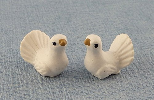 Melody Jane Dolls Houses House Miniature Pet Garden Accessory Birds Pair of White Turtle Doves