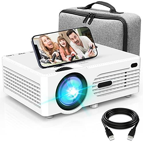 Projecteur AK-80 1080P Full HD Supportée, Rétroprojecteur avec Projecteur Bag, Mini Projecteur 6500L, Vidéoprojecteur Compatible...