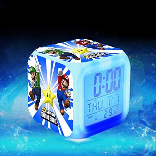 XINFA Reloj Super Mario Reloj Despertador LED Super Mario Reloj Despertador Luigi Mario Reloj Reloj de Escritorio electrónico KLOK Touch Lighting Up Relojes Saat