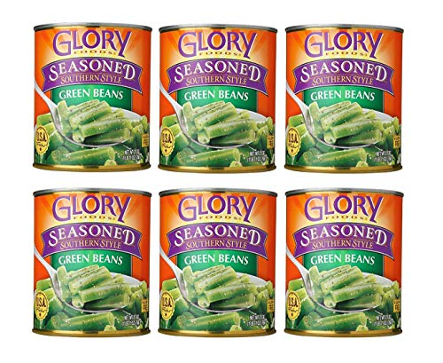 Glory Foods Seasoned Southern Style Green Beans (6 Pack, Total of 162oz)