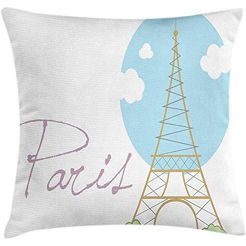 SSHELEY Eiffelturm Kissen Kissenbezug, Kalligraphie und hohes Denkmal von Hand gezeichnet, quadratische Kissenbezug blass grau rosa blass dunklen Senf