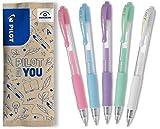 PILOT G2 - Juego de 5 bolígrafos de gel (rosa pastel, azul, violeta, verde, blanco)