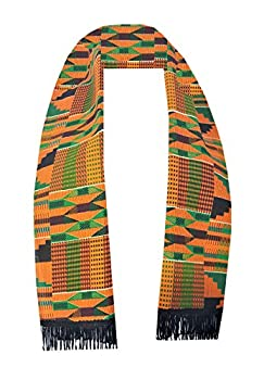 Authentic Handmade Cotton African Kente Cloth Scarves Graduation Choir Stole Sash Men Women Boy Girl Decora Apparel  Orange Gold Green P03 6X59.5