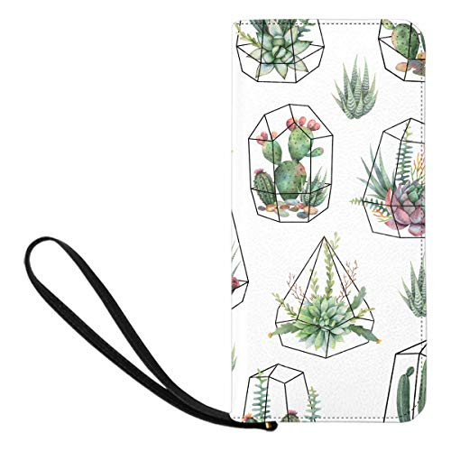 InterestPrint Women's Watercolor Cacti and Succulent Plants Clutch Wallet Handbag for Party Wedding Outdoor Sport