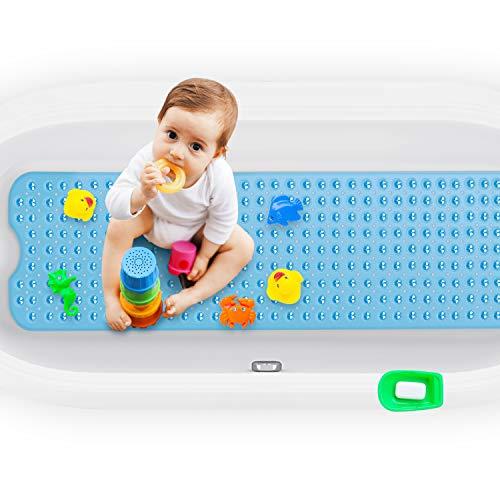 Magicfun Badewannenmatten, Antirutschmatte BPA frei 100×40 cm, rutschfest Badematte für Kinder Baby, Badewanne Duschmatte mit 200 Saugnäpfen, Maschinenwaschbar (Blau)