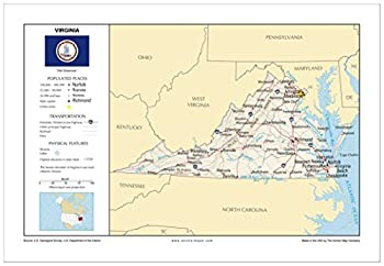13x19 Virginia General Reference Wall Map - Anchor Maps USA Foundational Series - Cities Roads Physical Features and Topography [Rolled]