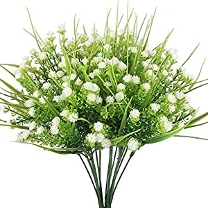 Artificial Plants, CATTREE 4pcs Faux Baby's Breath Fake Small Flowers Gypsophila Shrubs Simulation Greenery Bushes Wedding Centerpieces Table Floral Arrangement Bouquet Filler – White