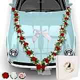 Florella's ® Hochzeit Autoschmuck | prachtvolle Blumengirlande mit 24 roten Rosen | 4 romantischen Türsträussen und Einer großen Seidenschleife | Hochzeitsschmuck Auto