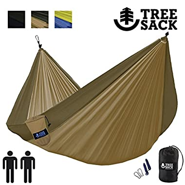 Tree Sack - Camping Hammocks Single & Double – Ultralight Breathable Parachute Fabric, Triple Stitched For Strength, Perfect for Backpacking, Camping, Survival (Khaki on Army Green - Double)