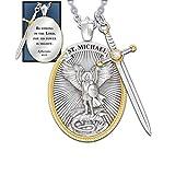 cnmd Colgante de San Patrono Católico Michael St. Michael The Archangel Colgante de Collar de Cadena, Colgante de Cadena de Acero Inoxidable, Colgante de Collar de Protección Ctholic