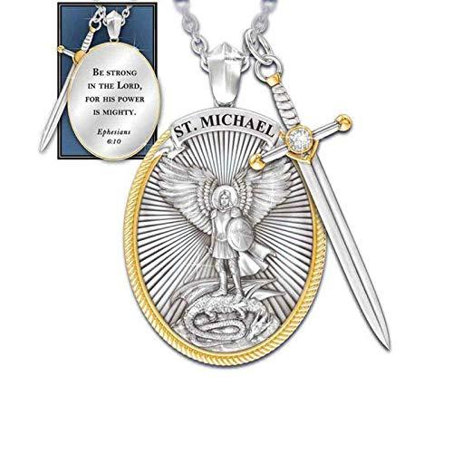 cnmd Colgante de San Patrono Catlico Michael St. Michael The Archangel Colgante de Collar de Cadena, Colgante de Cadena de Acero Inoxidable, Colgante de Collar de Proteccin Ctholic