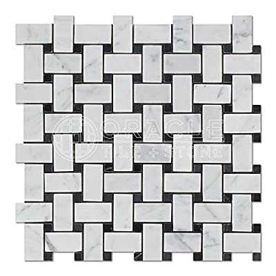 Carrara White Italian (Bianco Carrara) Marble Basketweave and Large Basketweave Mosaic Tile, Honed