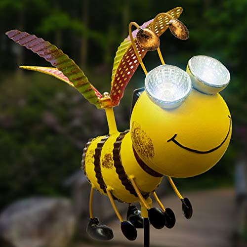 Solar Garden Stake Lights - Bee with Solar Light Eyes and Rotating Wings - Outdoor Lawn Decor Garden Decoration, Yard Art D