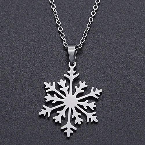 LKLFC Collar Mujer Collar Hombre Collar Copo de Nieve Collar de Encanto de Acero Inoxidable para Mujer Acepta delicados Collares de Acero Collar Colgante Niñas Niños Regalo