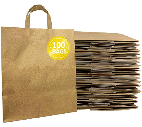 Reli. Kraft Paper Bags w/Handles (100 Pcs, Bulk) (Large 10'x6.75'x12') Brown Paper To Go/Take Out/Restaurant/Bags with Handles, Shopping Bags, Retail Bags, Gift Bags; 25% larger than 10'x5'x13'