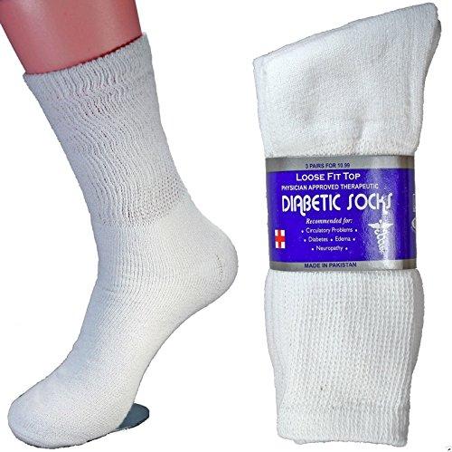 LM 12 Pairs Diabetic Crew Socks Unisex 9-11, 10-13, 13-15 Black Grey White (10-13, White)