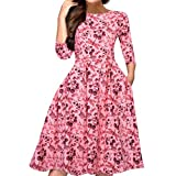 Tosonse Elegante Vestido De Oscilación Floral para Mujeres Vestidos De Fiesta De Noche Vestidos Vint...