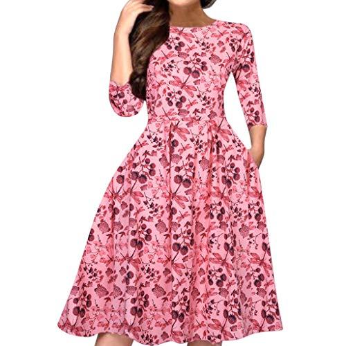 Fannyfuny Damen Kleider Frauen Rundhals Langarm Gedruckt Kleid Casual Elegant Mini Kleider Party Kleider Cocktail Kleider Herbst Winter Warme Fließendes Kleid Ballkleid Swing Kleid Blau weiß S-XXXL